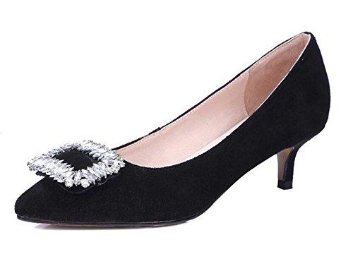 XIE opaco pattini eleganti 41 diamante da sottile pink Womens BLACK con casuali temperamento scarpette tacco dei 37 di sposa 7fwFnf8rq6