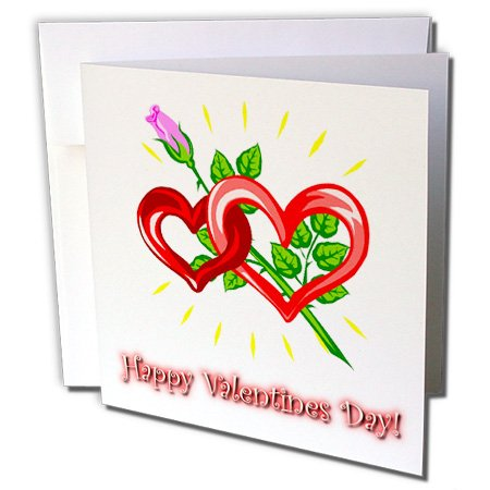 3dRose Double Hearts and Rose Valentines Day - Greeting Cards, 6 x 6 inches, set of 12 (gc_58871_2) ()