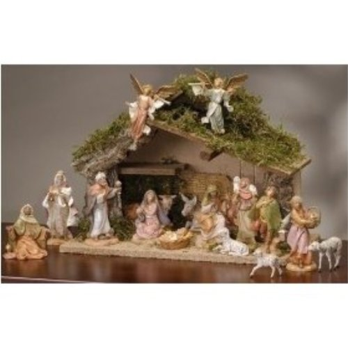 Fontanini 16 Piece Christmas Nativity Set with Italian Stable Figurine 54492 by Fontanini