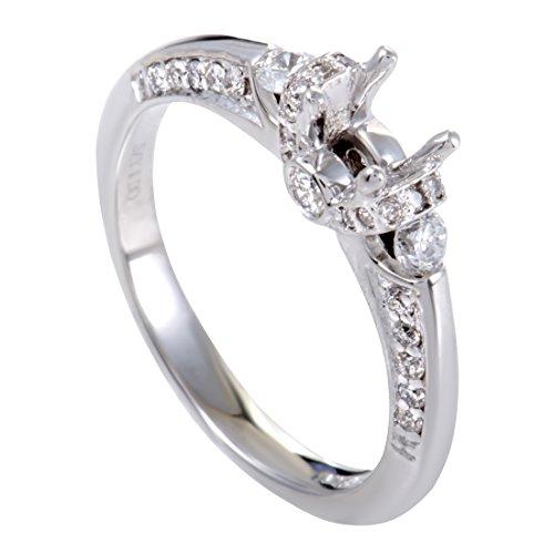 Diamond Gold Mounting (Luxury Bazaar .50ct 14K White Gold Diamond Engagement Ring Mounting)