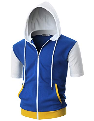 OHOO Mens Slim Fit Short Sleeve Lightweight Zip-up Costume Hoodie with Kanga Pocket/DCF057-BLUE/WHITE-2XL