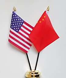 United States of America & China Friendship Table Flag Display 25cm (10\