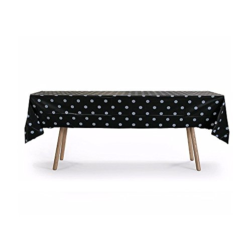 10 Packs of Polka Dot Table Cover, Plastic Rectangular Pool Patio Party Disposal Table Cover (Black)
