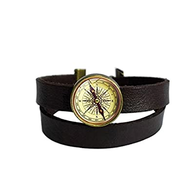 LooPoP Vintage Punk Dark Brown Leather Bracelet Retro Compass Art Antique Belt Wrap Cuff Bangle Adjustable