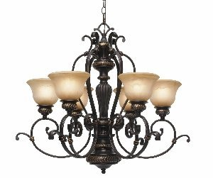 Golden Lighting 6029-6 EB Jefferson Six Light Chandelier, Etruscan Bronze Finish