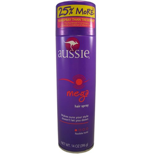 Aussie Mega Hair Spray Aerosol (Aussie Hairspray Mega Flexible Hold Aerosol 14 Ounce (414ml))