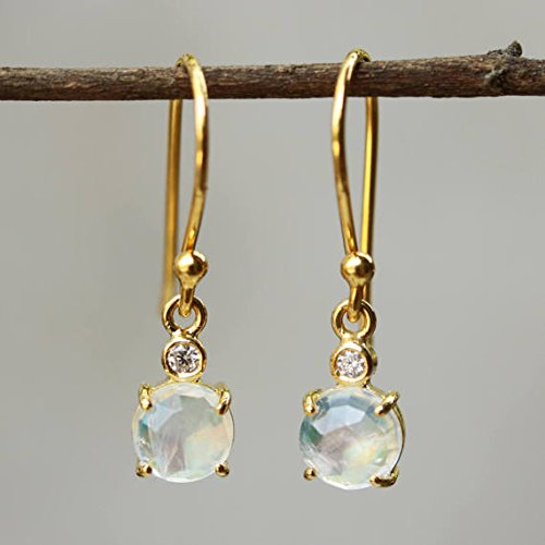 Earrings,Round faceted moonstone and diamonds set with 18k gold in prongs (Diamond Moonstone Earrings)