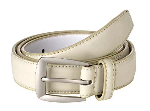 Sportoli Men's Genuine Leather Classic Stitched Casual Uniform Dress Belt - Cream/Matte Buckle (36) ()