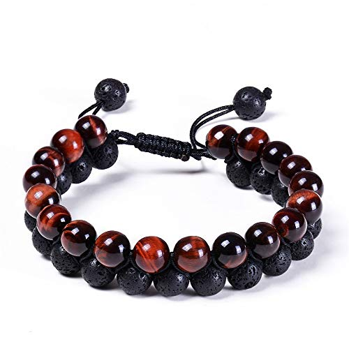 BRIGHT MOON Lava Rock Chakra Bead Bracelet Adjustable Essential Oil Diffuser 8mm Healing Natural Stone Handmade Braided Double Layer Yoga Beaded Bangle Bracelets for Mens and Womens