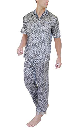Cuello Usted Con Marca Bolsillo Pijama Estampado Largo Piezas Grau Bolawoo Verano De Retro Hombre Satinado Camisa Mode Dos OWvH7Zqnx7