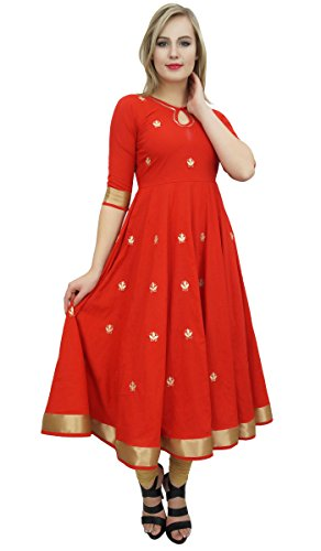Bimba Designer Red Anarkali Kurta Indian Ethnic Gota Work Cotton Kurti-10 by Bimba (Image #3)