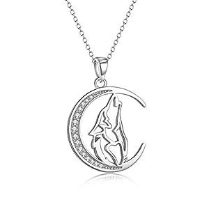 YFN Collier avec pendentif loup en forme de croissant de lune en argent sterling 925 45,7 cm