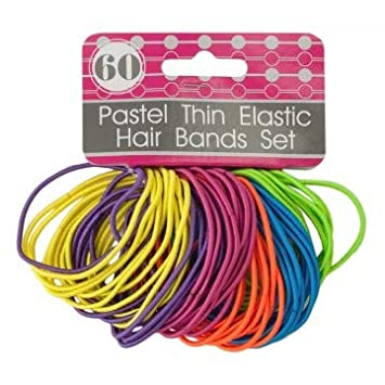Amazon.com   Elastic Hair Ties for Girls - Thin Fun Colorful Bands No Metal  Ponytail Accessories b81bf70ce49