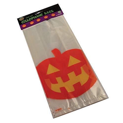 Halloween Pumpkin Cello Cellophane Bags - Pack of 12 ()