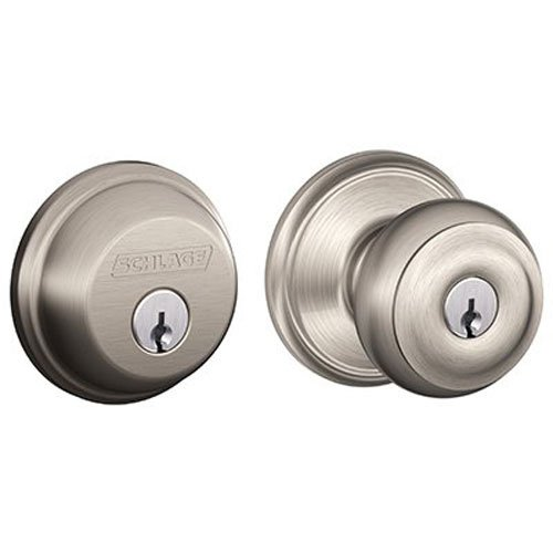 043156171415 - Schlage FB50N V GEO 619 B60 Single Cylinder Deadbolt and F51 Keyed Entry Georgian Knob Keyed Alike, Satin Nickel finish carousel main 0