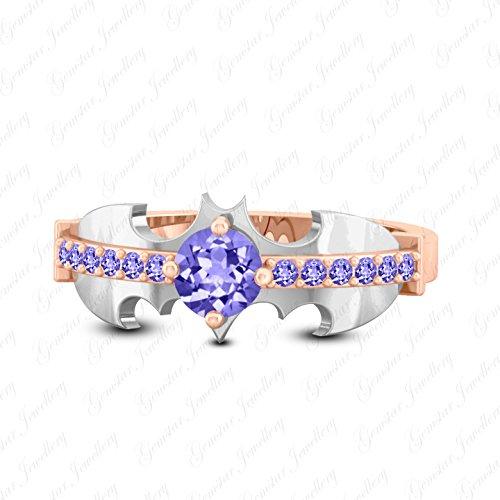 Gemsta Jewellery Dark Knight Batman Wedding Ring Round Tanzanite 18K Rose & White Gold ()