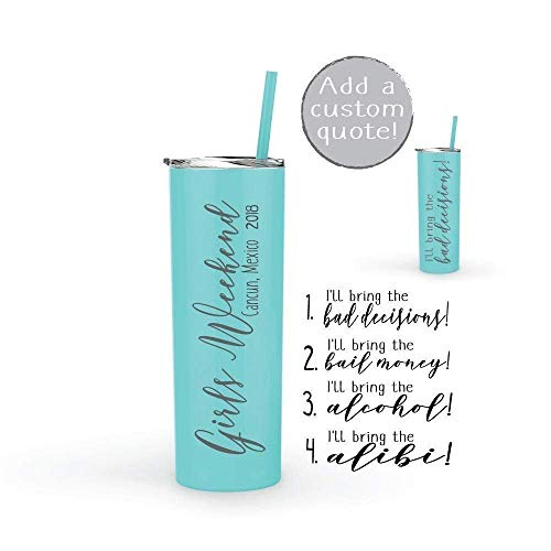Bridesmaid Party Gift Stainless Steel Tumbler Personalized Girls Weekend Gift Tumbler Water Bottle 20 oz -