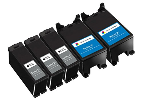 (HouseOfToners Compatible Ink Cartridges Replacement for Dell Series 21 22 23 24 (5-Pack, 3 Black/2 Color))