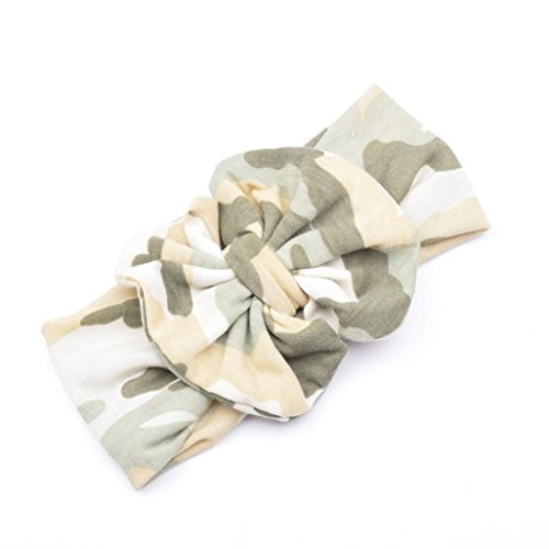 Ecosin Baby Kid Girl Camouflage Bowknot Hairband Turban Bowknot Headwrap Hairband (Army Green) Headwrap Green Camo