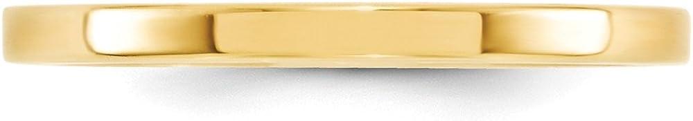 Jewel Tie 14k Yellow Gold 2mm Standard Flat Comfort Fit Wedding Band