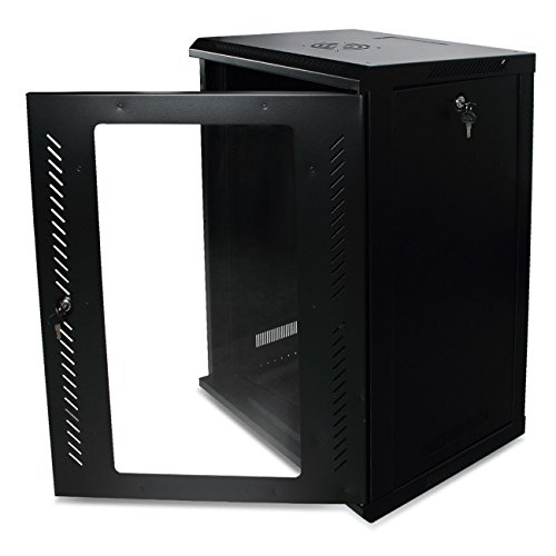Black Glass Door 15U Steel Wall Mount Server Cabinet w/Cooling Fan & Lockable with Ebook ()