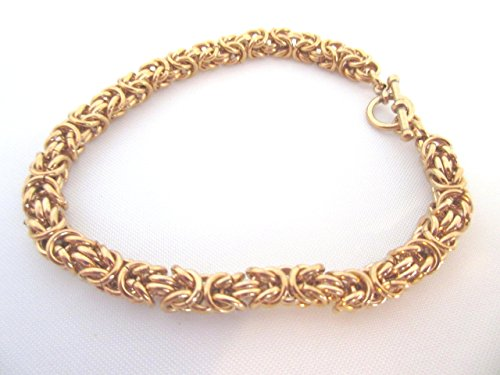 Bracelet Byzantine Weave - Bracelet Ancient Weave Byzantine Chain Mail Toggle Clasp Solid Bronze.