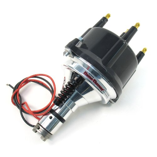 Pertronix D186810 Flame-Thrower Plug and Play with Ignitor Non Vacuum Black Cap Billet Electronic Distributor with Ignitor II Technology for VW Type 1 Engine Flame Thrower Billet Distributor