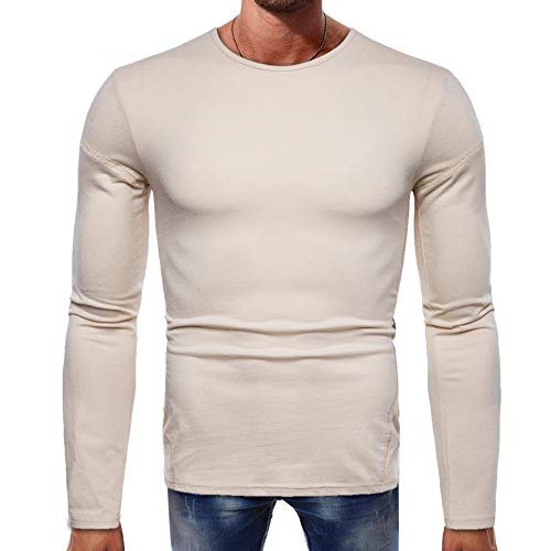 Men's T-Shirts Clearance WEUIE Men Long-Sleeve Beefy Muscle Button Basic Solid Pure Color Blouse Tee Shirt Top (M, Khaki) by WEUIE