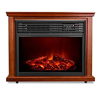 Image of Home and Kitchen Electric Fireplace Heater with Remote - 1500W Infrared Heater with 3D Flames Effect, 800 Sq Ft Coverage, Space Heater with Thermostat, Fast Heating, No Noise, Safety Protection, Brightness Adjustable