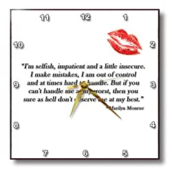 3dRose dpp_162254_3 Famous Marilyn Monroe Quote-Wall Clock, 15 by 15-Inch