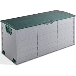 Giantex 79 Gallon Plastic Deck Storage Container Box Outdoor Patio Garden Garage Shed Backyard Furniture with Deep Storage Compartment Easy Lift Lid, Grey/Green