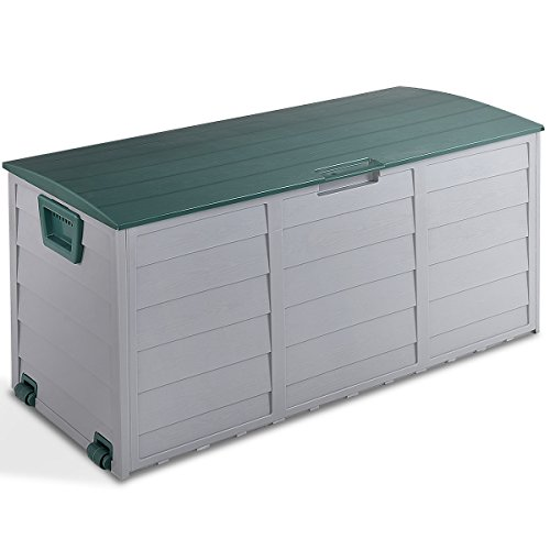 Giantex 79 Gallon Plastic Deck Storage Container Box Outdoor Patio Garden Garage Shed Backyard Furniture with Deep Storage Compartment Easy Lift Lid, Grey/Green (Storage Yard Shed Outdoor)