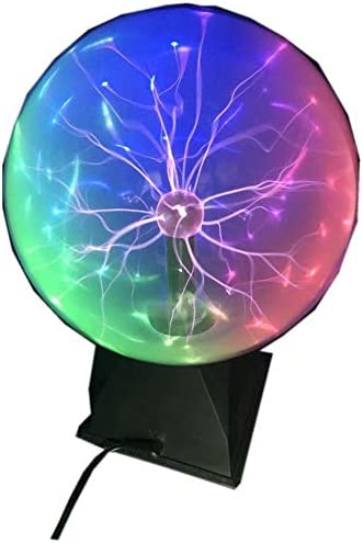 Pelddy Touch Sound Sensitive Glass Plasma Ball Lamp Crystal Blue Color Globe Design 8Inches