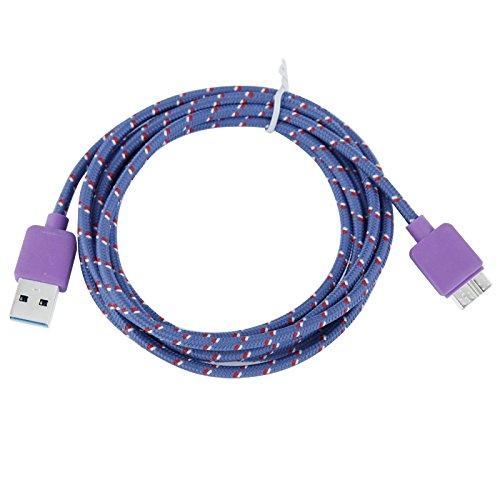 Mxnet Nylon Estilo Micro USB 3.0 Transferencia de datos / Cable de sincronización de carga para Samsung Galaxy Nota III / N9000, Galaxy S5 / G900, Longitud: 2m Fundas ( Color : Pink ) Purple