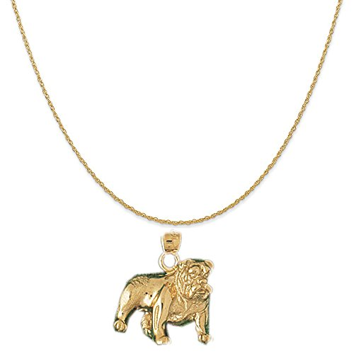 14k Yellow Gold Bulldog Pendant on a 14K Yellow Gold Carded Rope Chain Necklace, 16
