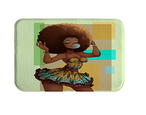 IMEI Fashion Bathroom Rug, American Girl Flannel Soft Washable Comfort Rug Multi-use Doormat in Bathroom, Kitchen,Toilet Floor, Laundry 16X24 Inch (Bubble Fashion Girl with Afro Hairstyle)