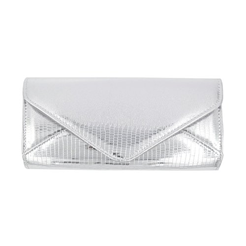 Large PU Leather Textured Shine Envelope Flap Clutch Evening Bag Handbag, Silver