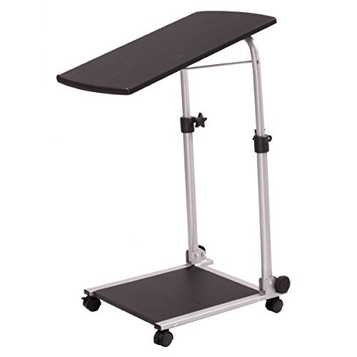 New Compact Adjustable Computer Laptop Mobile Cart Desk Table Floor Standing Tray! #130