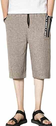 9085db42ef0 Spirio Men s Linen Straight Leg Elastic Waist Classic Drawstring Capri Pants