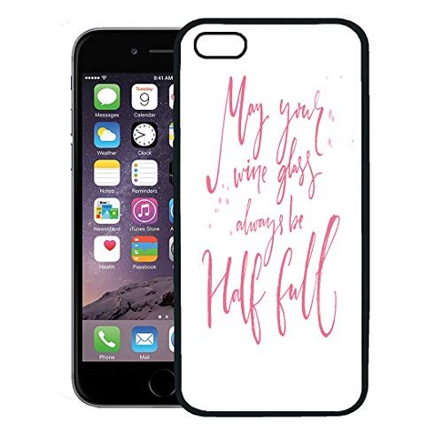 Semtomn Phone Case for iPhone 8 Plus case,May Your Wine Glass Always Be Half Full Inspirational Quote About Positive Saying and Wish Pink Text iPhone 7 Plus case Cover,Black