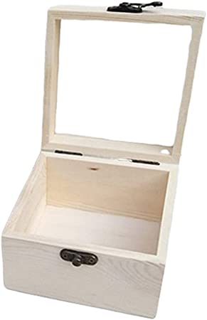 P Prettyia Caja De Tapa De Vidrio con Bisagras Sin Terminar De Madera Caja De Almacenamiento De Exhibición De Joyería 6#: Amazon.es: Hogar