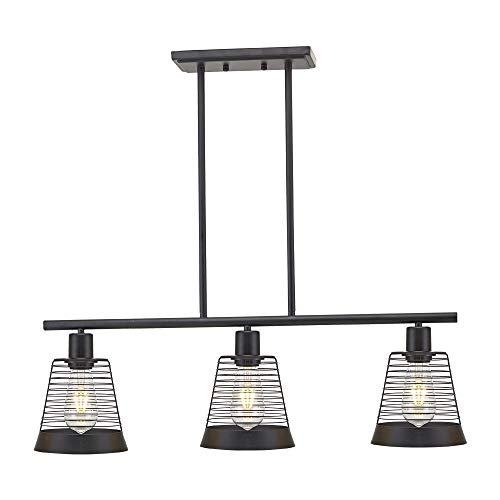BONLICHT Metal Kitchen Island Lighting 3 Lights Rustic Linear Farmhouse Chandelier Black Pendant Lighting Contemporary Ceiling Light Fixture for Kitchen Island Dining Room Farmhouse