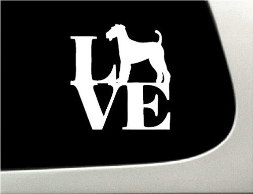 BD USA Love Airdale Dog Puppy Text Vinyl Car Sticker Symbol Silhouette Keypad Track Pad Decal Laptop Skin Ipad MacBook Window Truck Motorcycle, Decal Sticker Vinyl Car Home Truck Window Laptop (Text Symbol Puppy)
