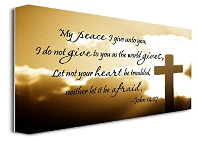 """FRAMED CANVAS PRINT My peace I give unto you, I do not give to you as the world gives, Let not your heart be troubled, neither let it be afraid John 14:27 religious (22""""x12"""")"""