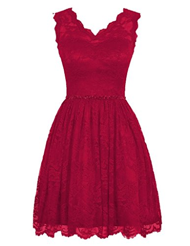 Length neck BessWedding Lace Dark Evening Sleeveless Red Knee V A Women's Gowns line EEqHCfw