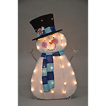 ProductWorks 32-Inch Pre-Lit Victoria Hutto Snowman Christmas Yard Decoration, 35 Lights