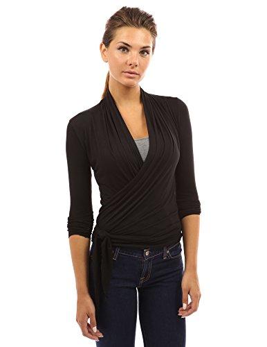 PattyBoutik Women's Convertible Long Sleeve Casual Wrap Knit Top (Black M) (Wrap Cardigan)