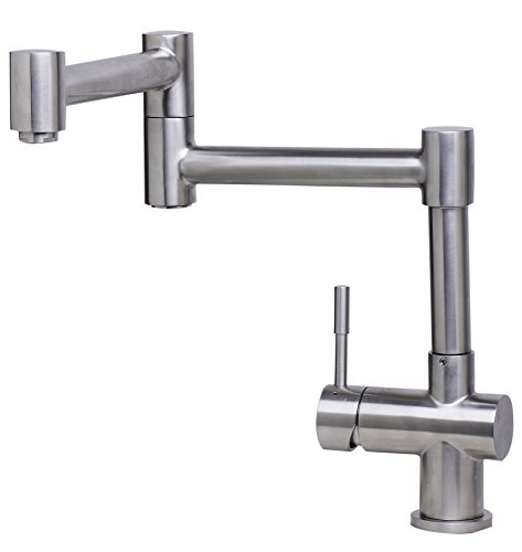 Alfi AB2038-BSS Solid Brushed Stainless Steel Retractable Single Hole Kitchen Faucet, 15