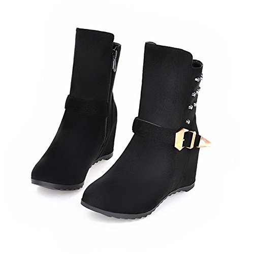 AmoonyFashion Womens Low Top Solid Zipper Round Closed Toe Kitten Heels Boots Black xMG33FOp