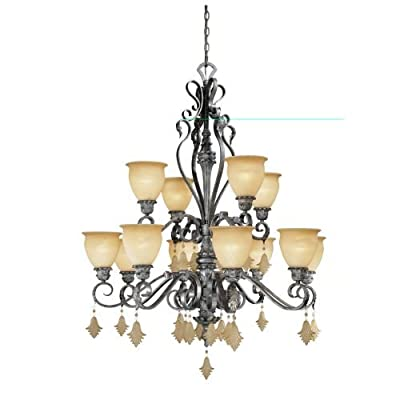 Vaxcel Lighting MM-CHU012 Montmarte 12 Light Two Tier Chandelier - 39.25 Inches,